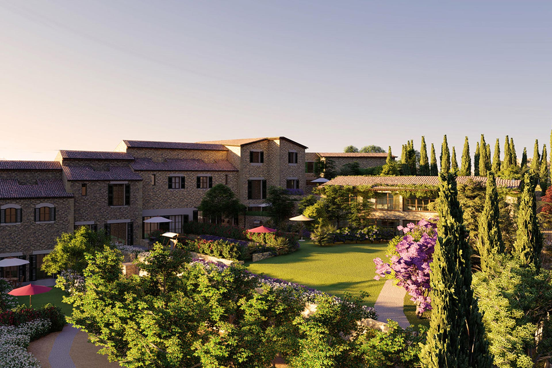 Complex of 6 villas currently under construction with communal gardens and pool