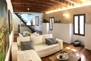 Delightful living room with wooden beams