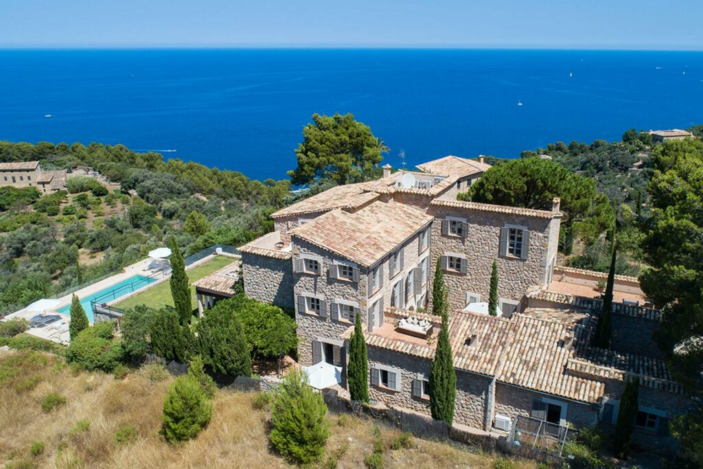 Aerial view of this amazing villa for sale in Deia. Sea views offered from every single room