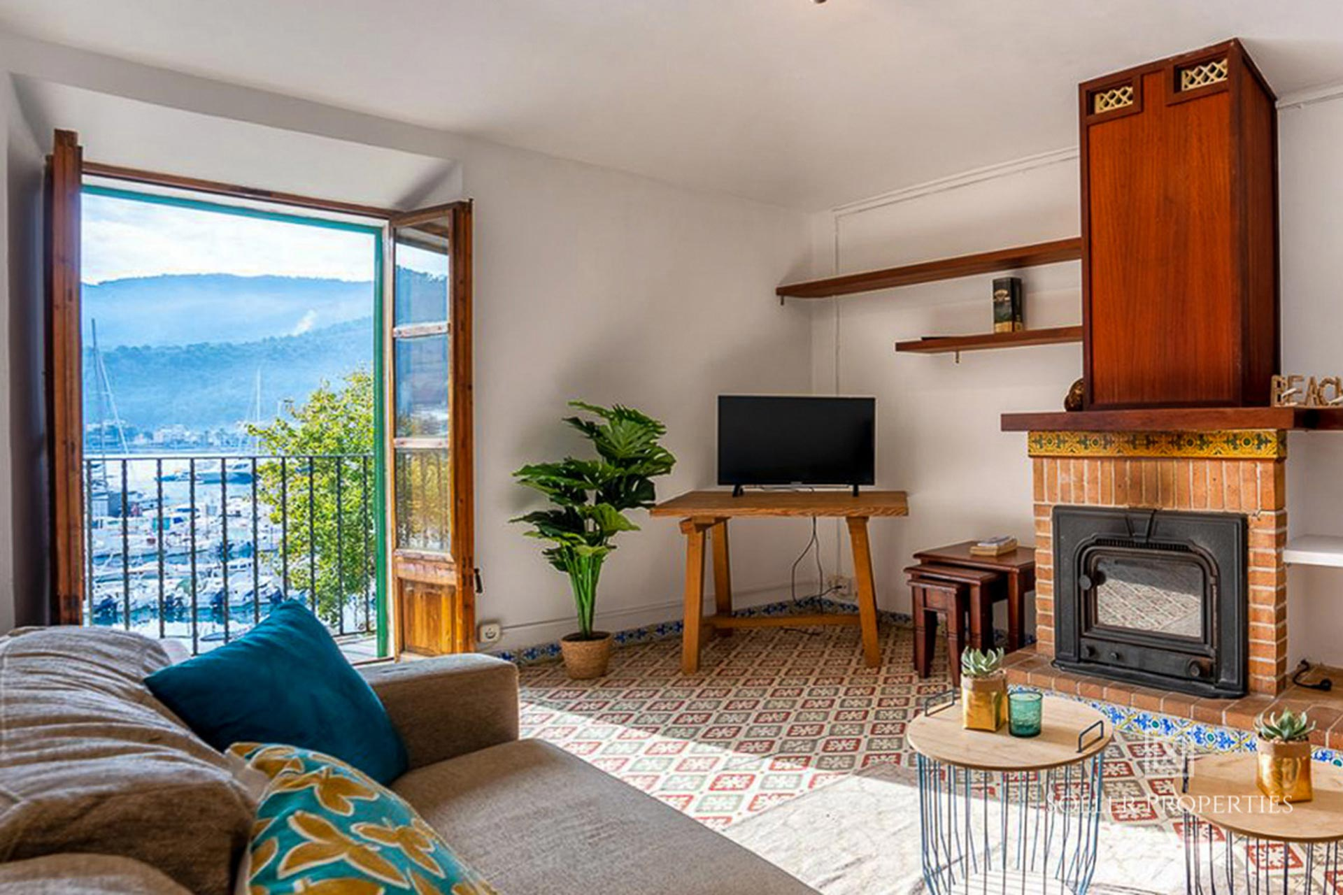 living room with harbour and sea views - port de soller Mallorca