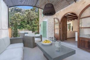 Very comfortable covered terrace with stone facade finca style house