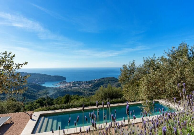 Stunning sea views from the pool area of this lovely Finca for Sale in Port de Soller. Pool overlooking the Port de Soller